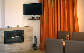 TV set and fireplace