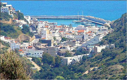 Agia Galini: View of the village and the port from the Alexena Apartments