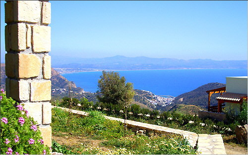 Agia Galini: View of the village and the Messara bay from the Alexena Apartments